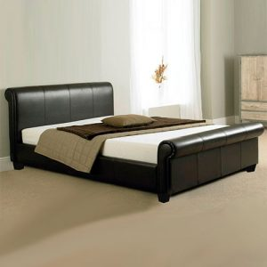 Troy Leather Sleigh Bed -0