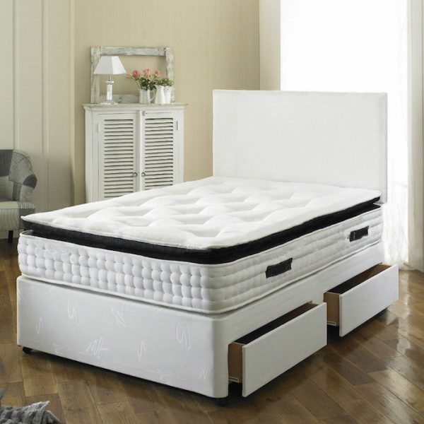 Paul Divan Bed With 2000 Pocket Spring Memory Foam Mattress Luxury