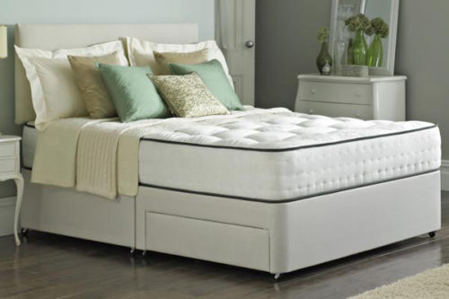 Bedford Divan Fabric Bed with Orthopaedic Spring Memory Foam Mattress-0