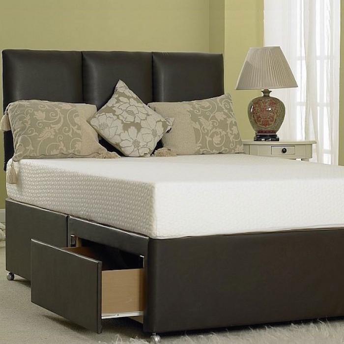 Manresa Divan Leather Designer Bed Luxury Fabric Beds