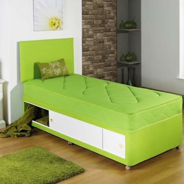 Harvey Single Kids Divan Bed with Tufted Spring Mattress-0