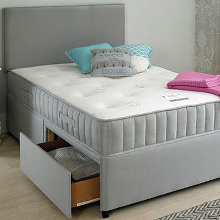 Chelsea Divan Bed With Spring Memory Foam Mattress Luxury Fabric Beds Beds Co Uk