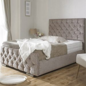 Clara Diamond Chenille Fabric Upholstered Bed Frame-0