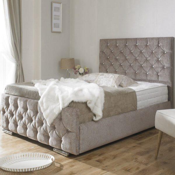 upholstered bed frame. Clara Diamond Chenille Fabric Upholstered Bed Frame-0 Frame