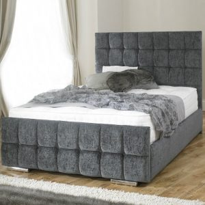 Renata Cube Chenille Fabric Upholstered Bed Frame-0