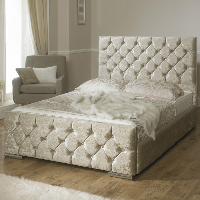 Clara Diamond Velvet Upholstered Bed Frame Luxury Fabric