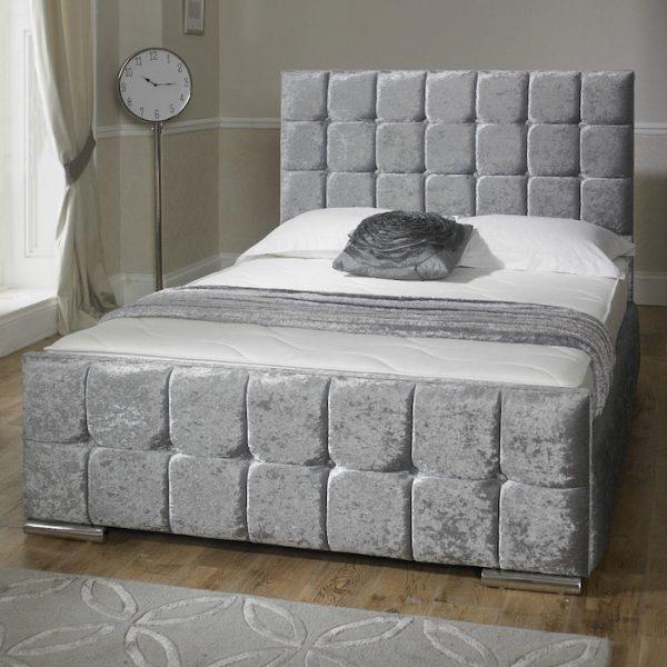 Renata Cube Velvet Fabric Upholstered Bed Frame-0