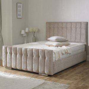 Karina Chenille Fabric Upholstered Bed Frame-0