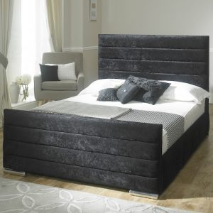 Athena Velvet Fabric Upholstered Bed Frame-0