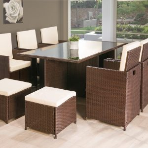 11PC Cube Rattan Garden Furniture - Brown or Black-0
