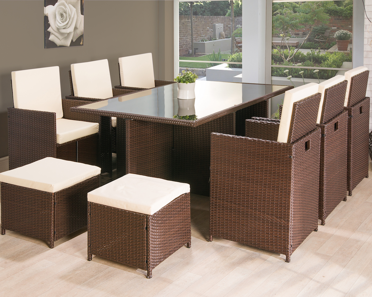 11pc Cube Rattan Garden Furniture Luxury Leather Beds