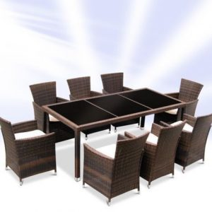 Rattan Dining Table And 8 Chairs Set - Brown or Black-0
