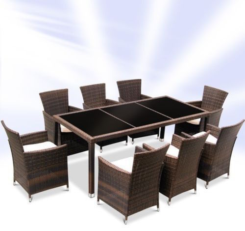 Rattan Dining Table And 8 Chairs Set – Brown or Black-0