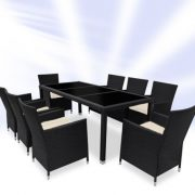 Rattan Dining Table And 8 Chairs Set – Brown or Black-1278