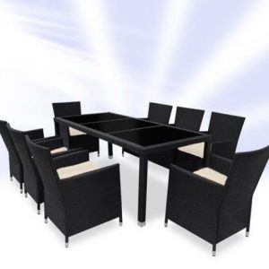 Rattan Dining Table And 8 Chairs Set - Black or Brown-0