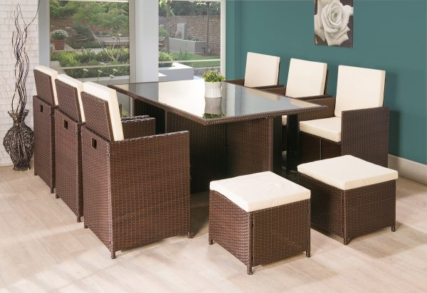 Prime 11Pc Cube Rattan Garden Furniture Brown Or Black Home Interior And Landscaping Synyenasavecom