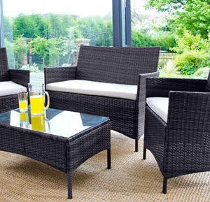 4PC Rattan Garden Furniture Set - Black or Brown-0