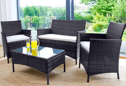 4PC Rattan Garden Furniture Set – Black or Brown-0