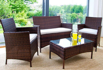 4pc Rattan Garden Furniture Set Brown Luxury Leather Beds Beds