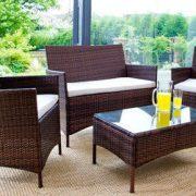 4PC Rattan Garden Furniture Set – Black or Brown-1227