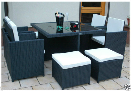 9pc Cube Rattan 8 Seater Garden Set Luxury Leather Beds
