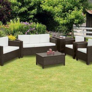 6PC Large Rattan 7 Seater Sofa Set - Black, Mixed Brown -0