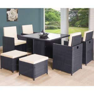 9PC Cube Rattan 8 Seater Garden Set - Brown-0