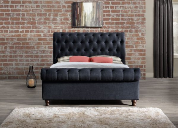 Fabrice Fabric Upholstered Sleigh Bed-1140