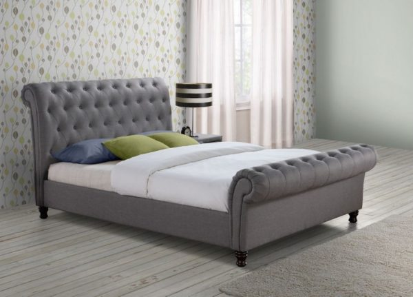 Fabrice Fabric Upholstered Sleigh Bed-1138