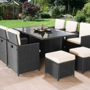11PC Cube Rattan Garden Furniture – Black or Brown-0
