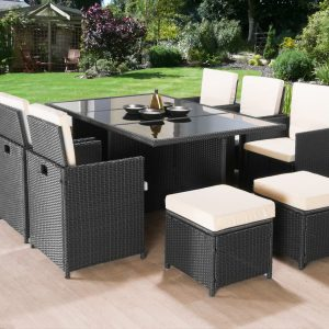 11PC Cube Rattan Garden Furniture - Black or Brown-0