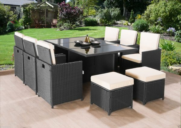 Awe Inspiring 11Pc Cube Rattan Garden Furniture Black Or Brown Home Interior And Landscaping Synyenasavecom