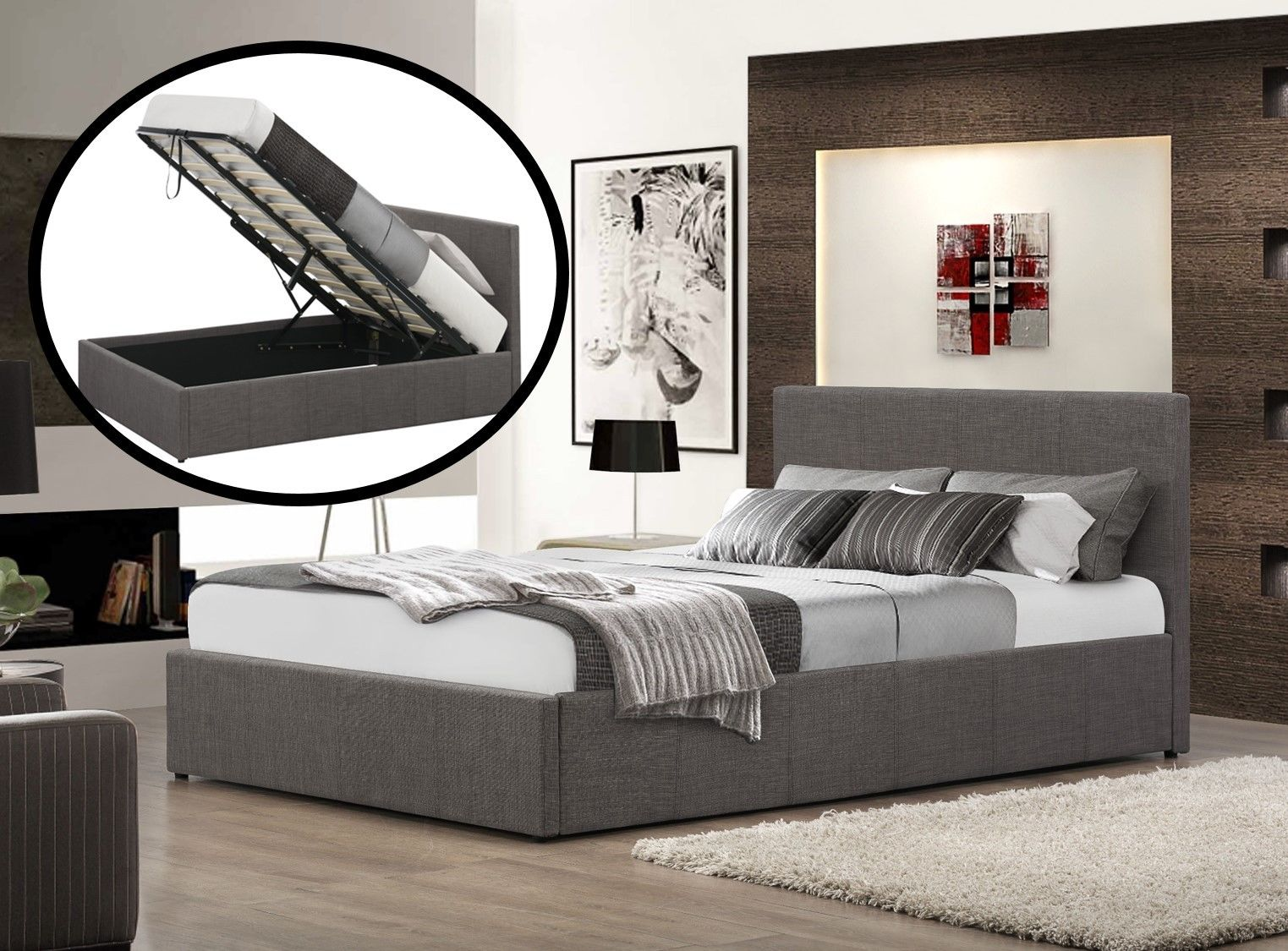 Fiona Ottoman Fabric Upholstered Sleigh Bed Luxury