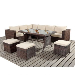 Rattan Corner Sofa and Stool Dining Set-0