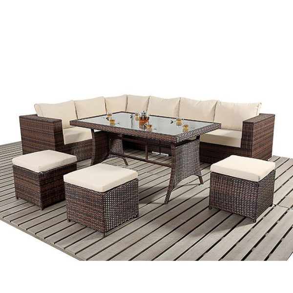 Alexandria Rattan Corner Sofa Reviews: 9PC Rattan Sofa And Stool Dining Set