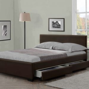 Indigo Storage Leather Bed-0