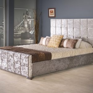 Renata Cube Fabric Upholstered Bed Frame-0