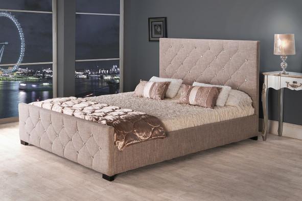 best loved a6bbb 79abe Clara Diamond Cotton Fabric Storage Bed Frame