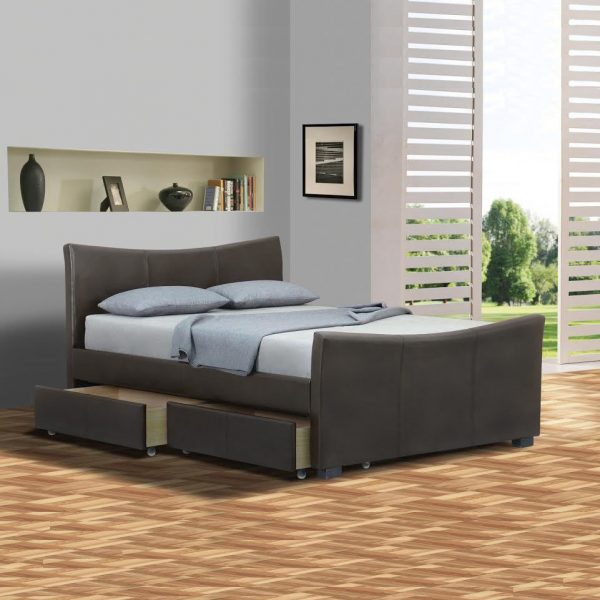 d603e110cf6 Barcelona 4 Drawers Leather Storage Sleigh Bed - Luxury Leather Beds ...