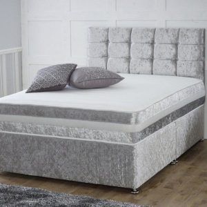 Crushed Velvet Divan Set with Matching Fabric Headboard and Memory Foam Mattress-0