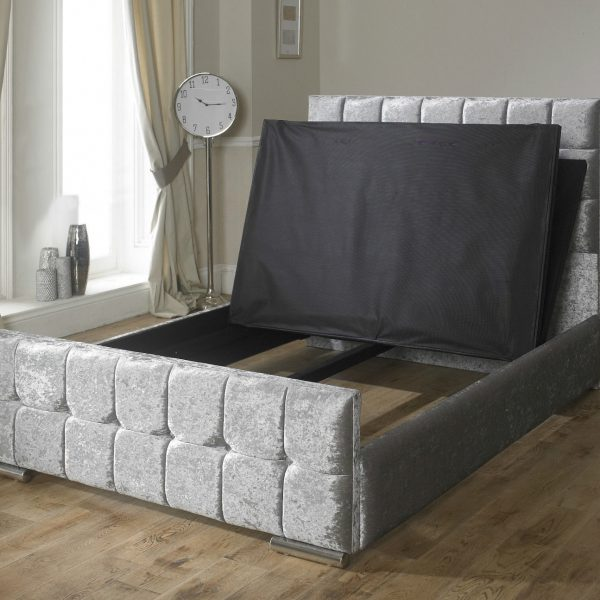 Renata Cube Fabric Upholstered Bed Frame Luxury Fabric