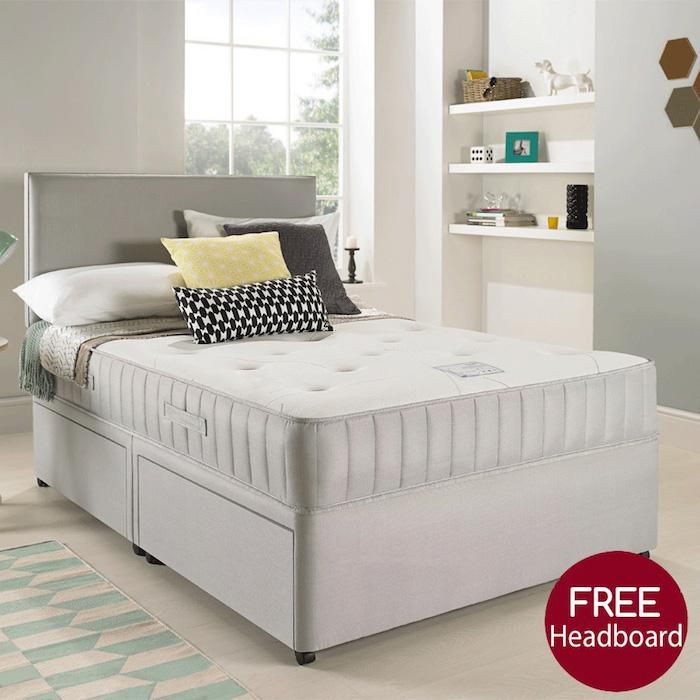 Suede divan bed with open spring memory foam mattress for Divan 4 ft bed