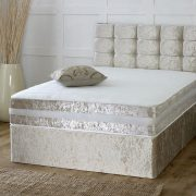 Crushed Velvet Divan Set with Matching Fabric Headboard and Memory Foam Mattress-1655