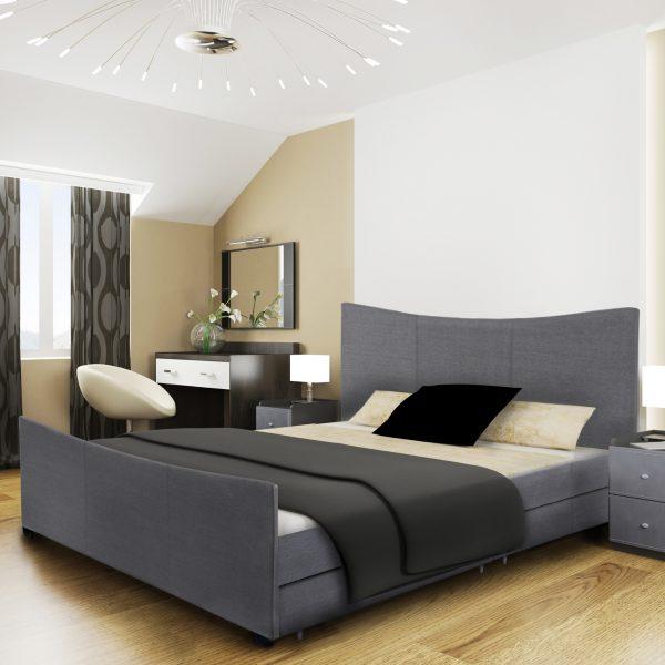 Mia Fabric Storage Sleigh Bed-1649