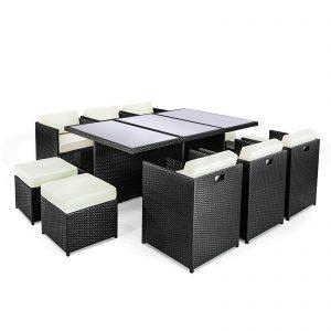 Rattan 11 Piece Rectangular Cube Set-0