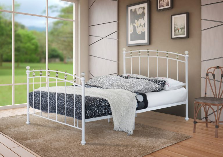 Layla Pearl White Metal Bed-0
