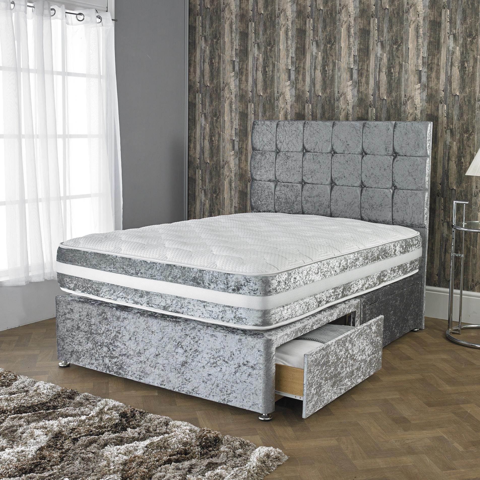 Crushed Velvet Divan Bed With Open Spring Memory Foam