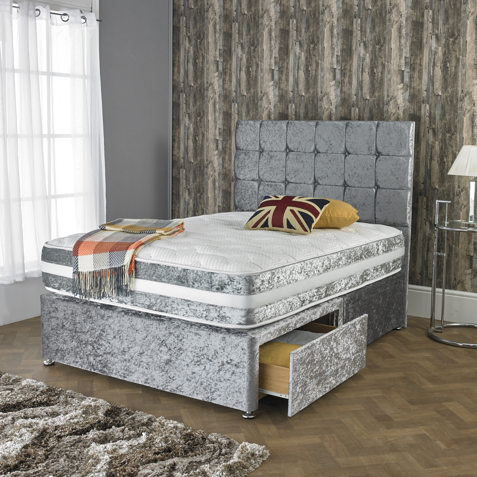 Crushed Velvet Divan Bed With Open Spring Memory Foam